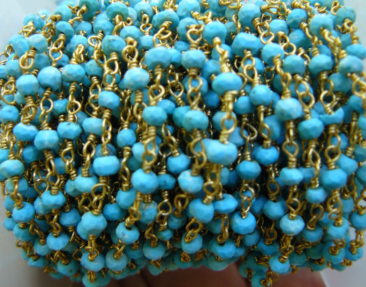 Turquoise Gems on a 24kt gold Chain over copper core