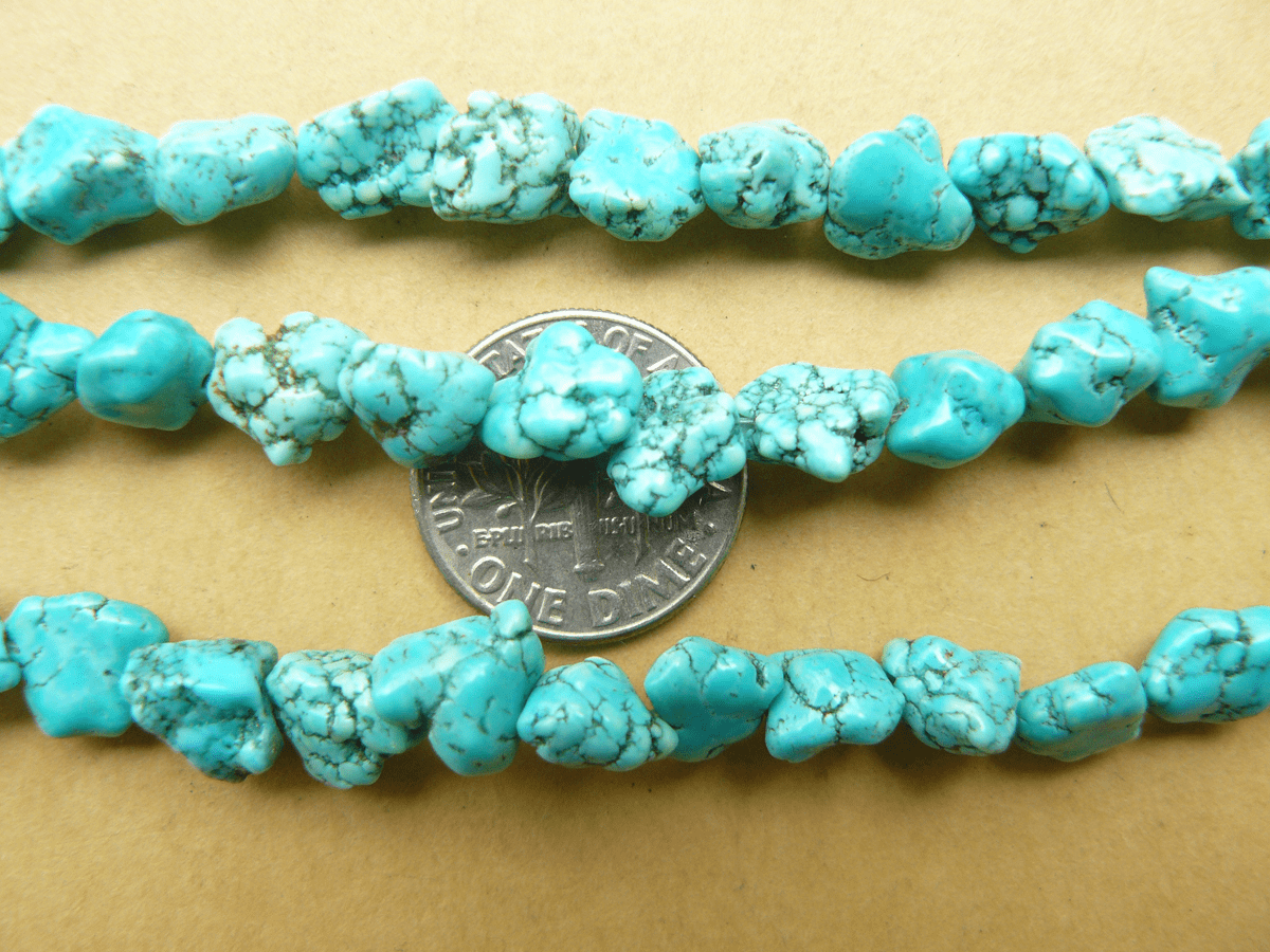 """Turquoise Magnasite Nugget Beads 16"""" Strands"""