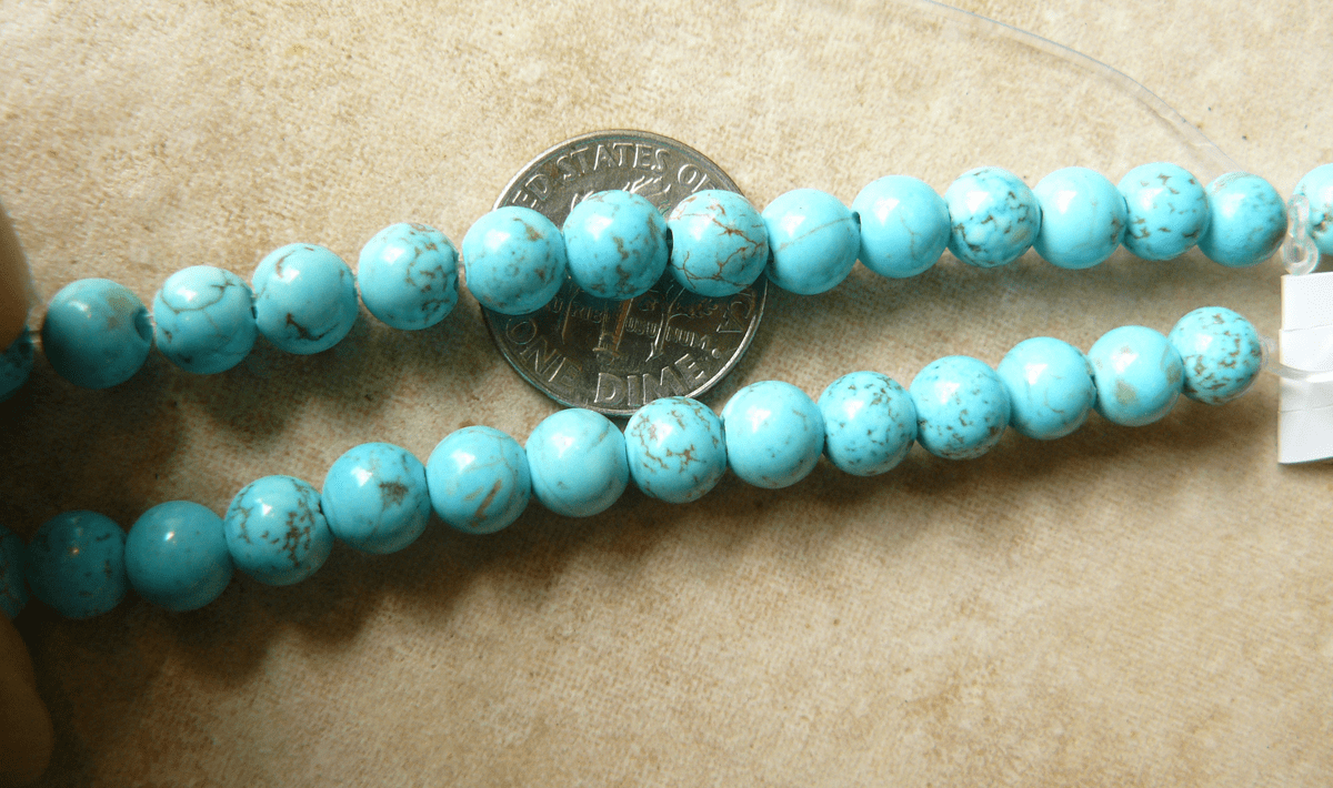 """Turquoise Round Beads 6mm 8"""" strands"""