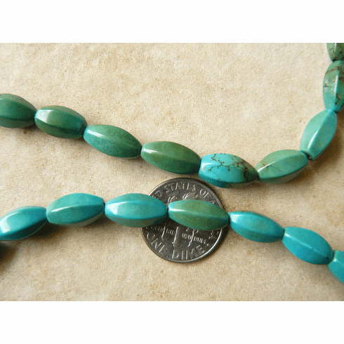 """Turquoise Tube beads with faceted sides 16"""" strands"""