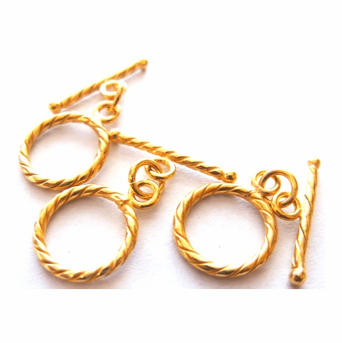 Twisted Toggle - 15x21mm Circle w/ 23mm Bar - 10 Sets - 24Kt. Gold Over Copper