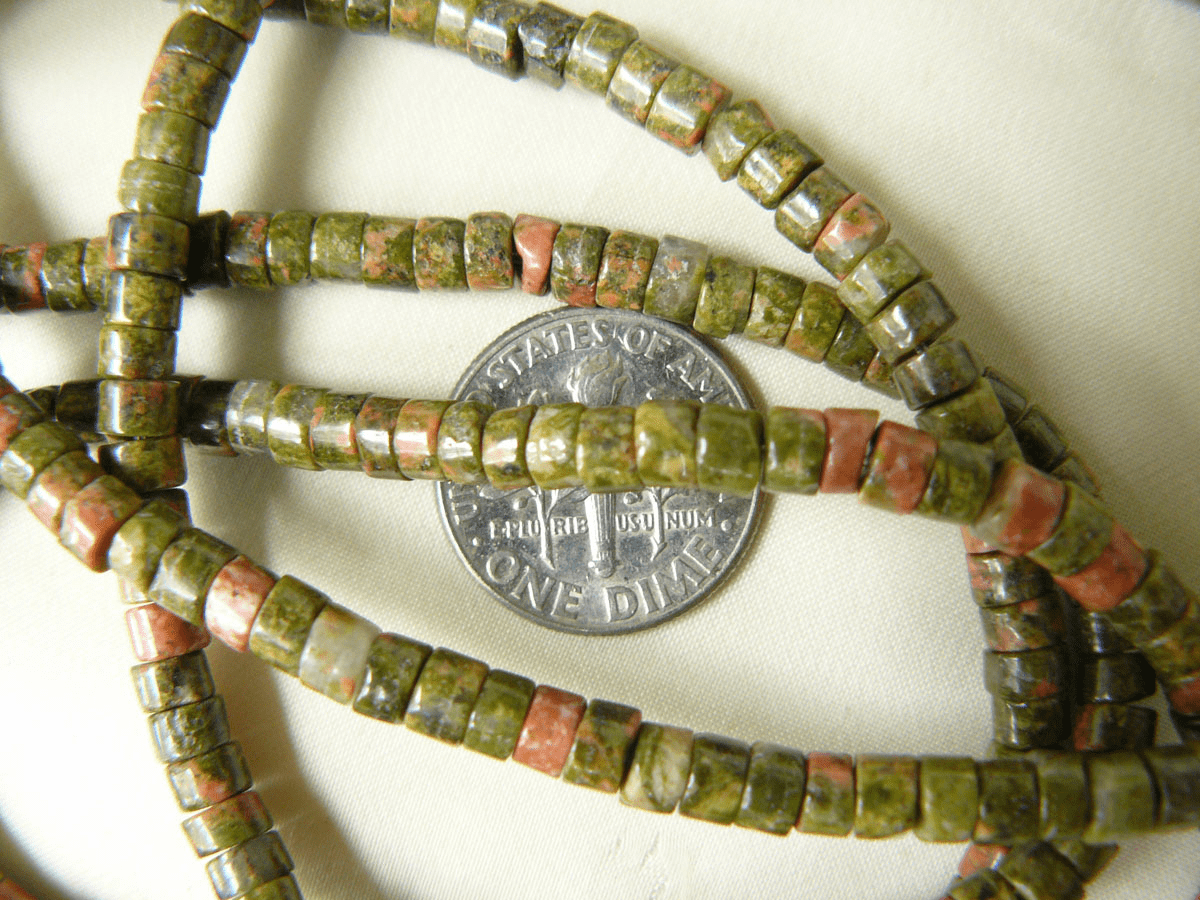 "Unakite Beads 4.5mm Heishi beads 16"" strands"