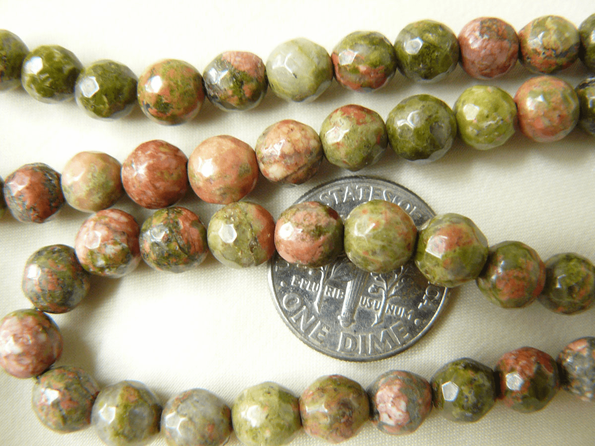 "Unakite - Faceted 6mm Round beads 16"" Strands"