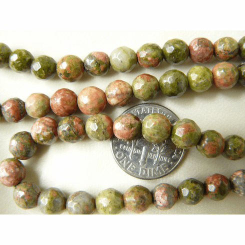 """Unakite - Faceted 6mm Round beads 16"""" Strands"""