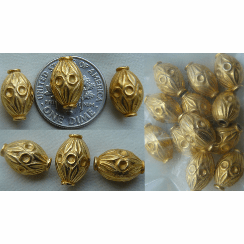 Vemeil Bead - 12x7mm - 12 beads Gold Over Sterling Silver - Vermeil<br>GB23