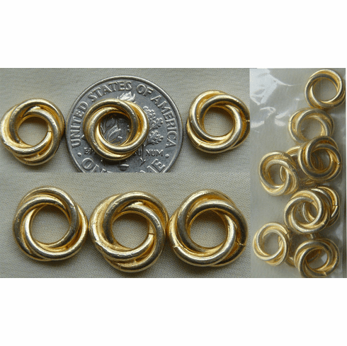 Vermeil Bead - 9x3mm - 10 pieces Gold over Sterling Silver- Vermeil<br>GB4