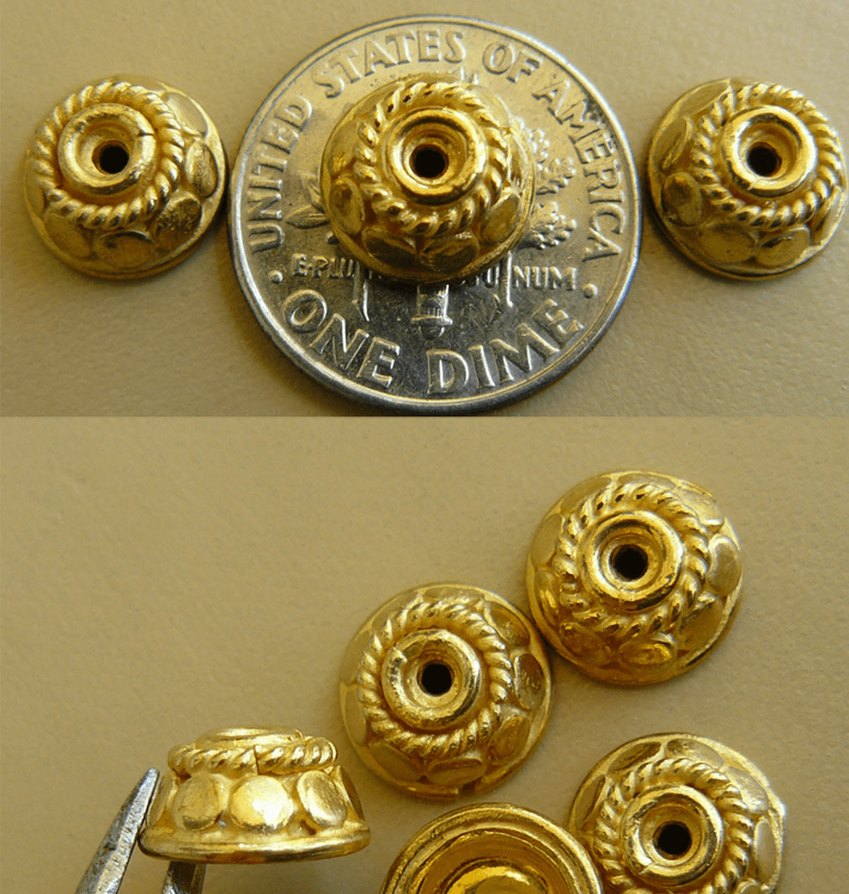 Vermeil Bead Cap - 10x6mm 9 pieces Gold over Sterling Silver