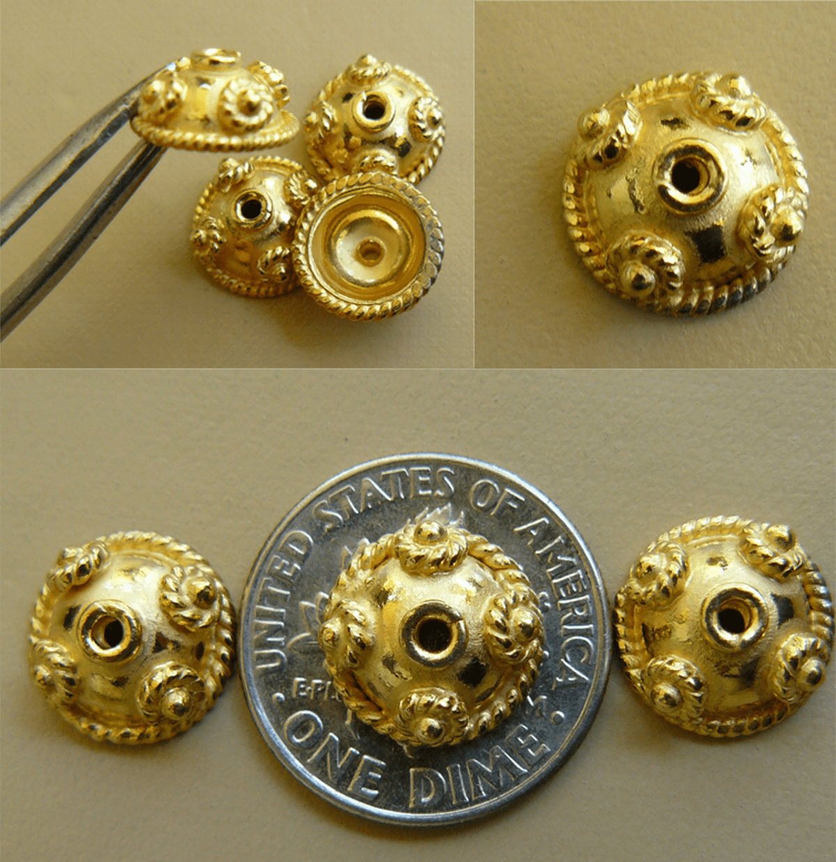 Vermeil Bead Cap - 5x10mm - 10 caps Gold over Sterling Silver