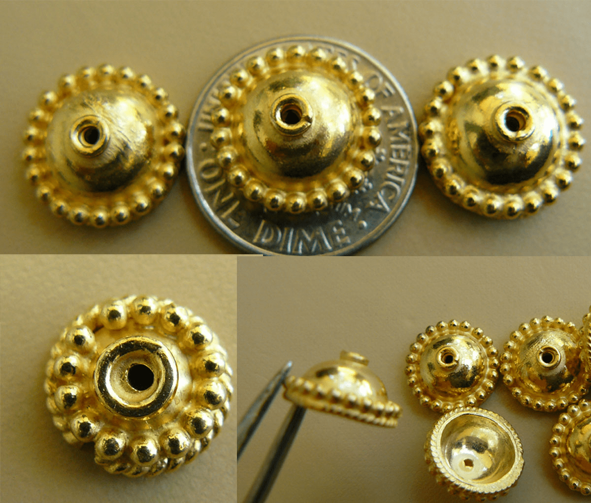 Vermeil Bead Cap - 6x13mm 6 caps Gold over Sterling Silver