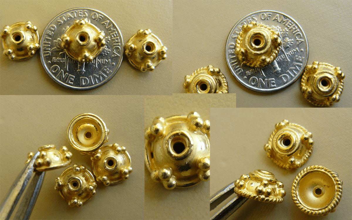 Vermeil Bead Cap - 7x4mm-13pc.or 9x4mm-10pc. Gold over Silver