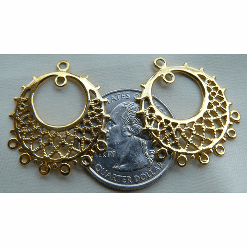 Vermeil Chandelier earring finding 25MM circle with in a circle