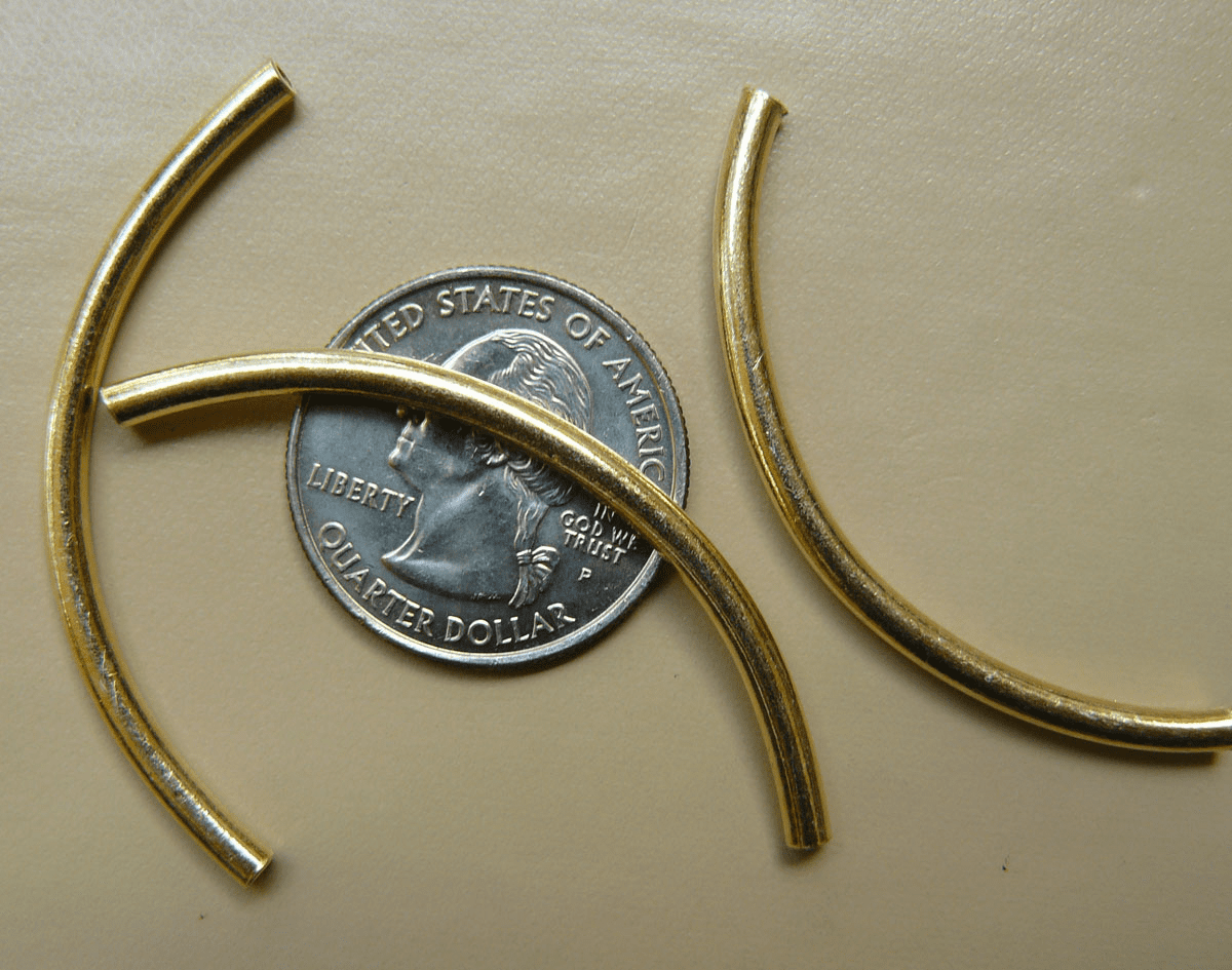 Vermeil Curved Tube 3x50mm  6 Pack  Gold over Sterling Silver