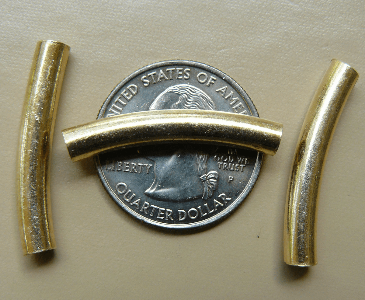 Vermeil Curved Tube 5x30mm 6 Pack Gold over Sterling Silver