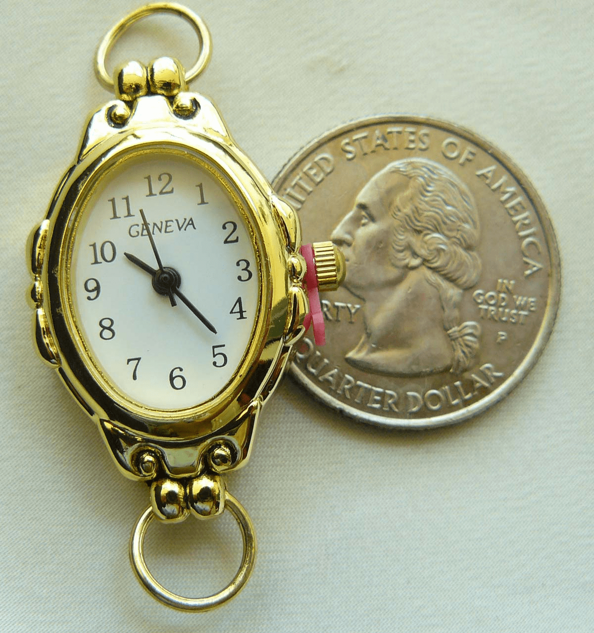 Watch Face with Ornate Fancy Gold Case 20x25mm