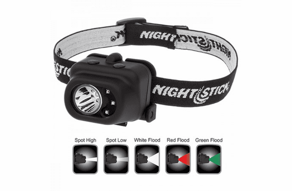 NightStick Multi Function LED Headlamp, White Spotlight, White Red or Green Floodlight, Black Body NSP-4610B