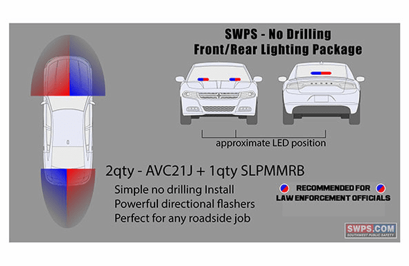 SWPS Kit - 2 Forward 1 Rear - Whelen No Drill LED Warning Flashers