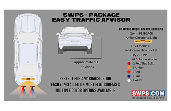 SWPS Kit - Easy Traffic Advisor - 2 Whelen IONS + Whelen StripLite Plus TA