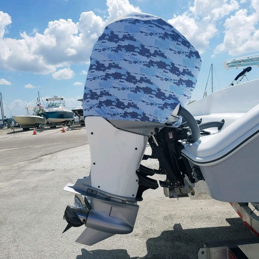 Outer Envy Outboard Motor Cover - Blue Camo - Mercury New 175