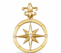 14K Gold Diamond Compass Rose Pendant