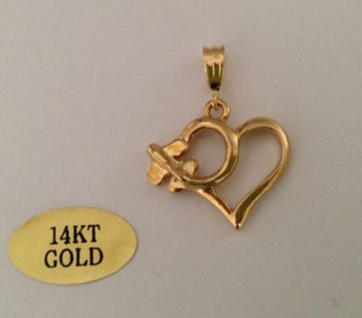 Airplane Heart 14k Gold Pendant | Closeout Special