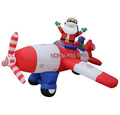Santa in Airplane Inflatable