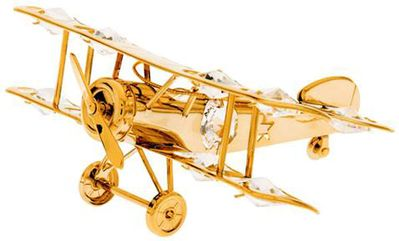 Gold Plated Airplane Ornament with Crystals