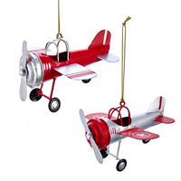 Tin Airplane Ornaments   Set of Two