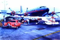 DC-6 and Cessna 170 Airplane Art Print