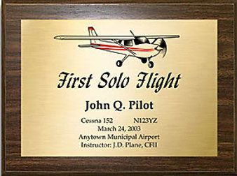 First Solo Commemorative Aviation Plaque