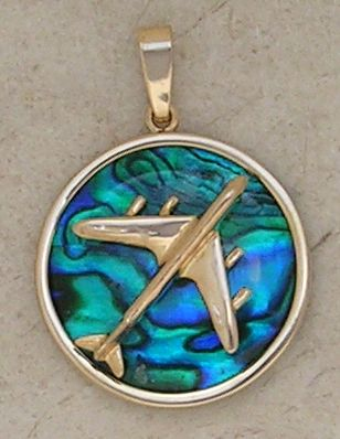 Gold B-707 Jet Airplane Pendant Sea Opal Jewelry