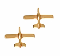 14K Gold Low Wing Post Airplane Earrings