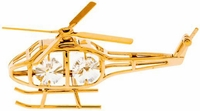 Gold Plated Helicopter Ornament with Crystals | <font color=red>Santa Savings </font color>