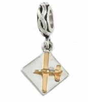 Gold & Silver Airplane Charm Bead - Piper Style