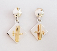 Gold & Silver Diamond Dangle Aviation Earrings - High Wing