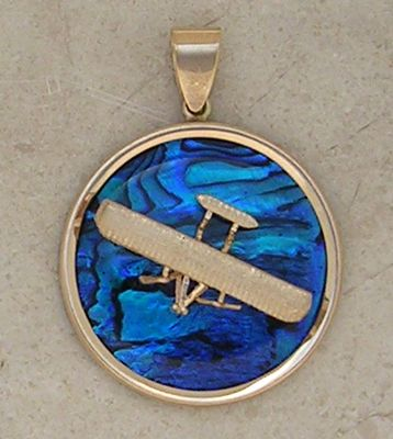 Gold Wright Flyer Airplane Pendant Sea Opal Jewelry