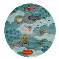Kid's Airplane Rug - Round