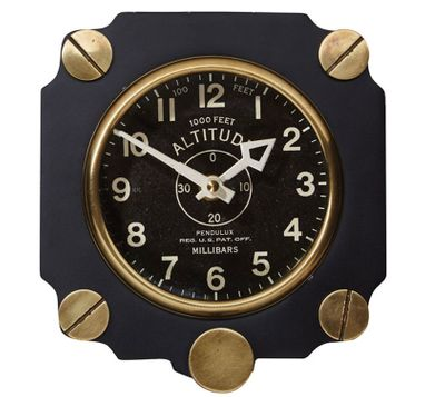 Metal Altimeter Wall Clock - Black | <font color=red>Just $5 to Ship USPS Priority </font color>