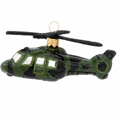 Military Helicopter Ornament | <font color=red>Santa Savings </font color>