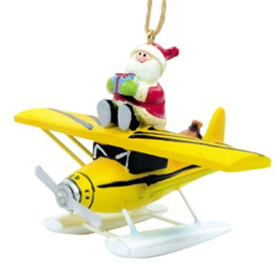 Santa on Float Plane Ornament | <font color=red>Sorry Now Out of Stock</font color>