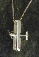 Silver Biplane Pendant with Necklace