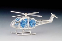 Silver Plated Helicopter Ornament with Crystals