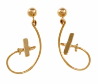 14K Gold Aerobatic Flight Earrings - Cessna Style
