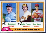 1981 Topps League Leaders of 1980 Dan Quisenberry & Rollie Fingers & Tom Hume Baseball Card