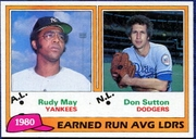 1981 Topps League Leaders of 1980 Rudy May & Don Sutton Baseball Card