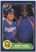 1986 Fleer Dwight Gooden & Fernando Valenzuela Super Star Baseball Card