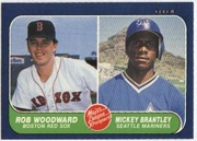 1986 Fleer Rob Woodward  & Mickey Brantley Baseball Card
