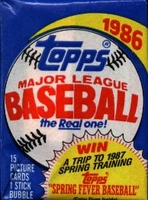 1986 Topps Baseball Cards Wax Pack