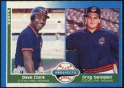 1987 Fleer Greg Swindell with Dave Clark Rookie Baseball Card