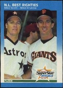 1987 Fleer National League Best Righties Mike Scott & Mike Krukow Baseball Card