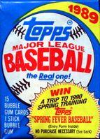 1989 Topps Baseball Cards Wax Pack